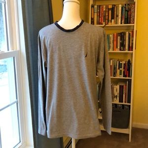Nautica Long Sleeve Tee in Gray and Navy Size M